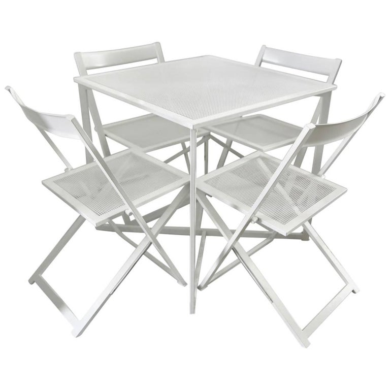 Five-Piece Patio Dining Set in White