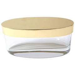 Oval-Form Lidded Box in Crystal and Brass