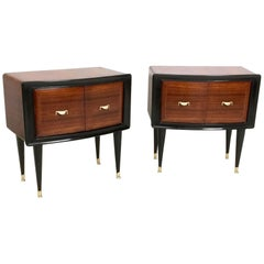Pair of Wooden Nightstands, Italy, 1950s