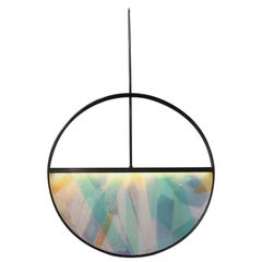 Phase Pendant in Contemporary Blackened Steel with Layered Resin Inlay