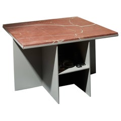Contemporary Uniform Aluminium Coffee Table in Silk Grey and Pink Red Marble