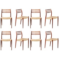 Niels Møller Model 78 Rosewood Papercord Chairs