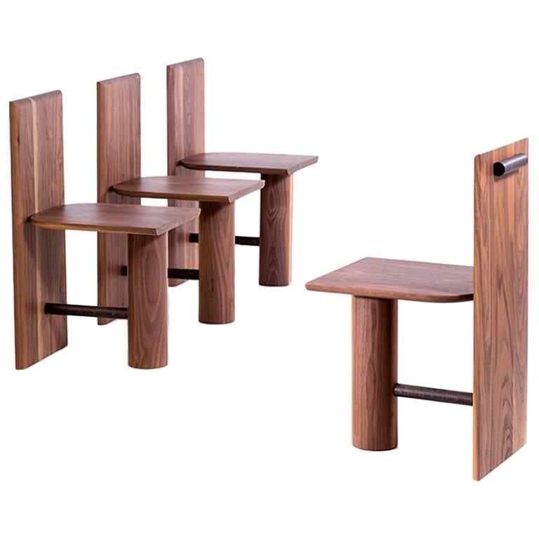 Colonne Chair in Solid Walnut Wood by POOL For Sale
