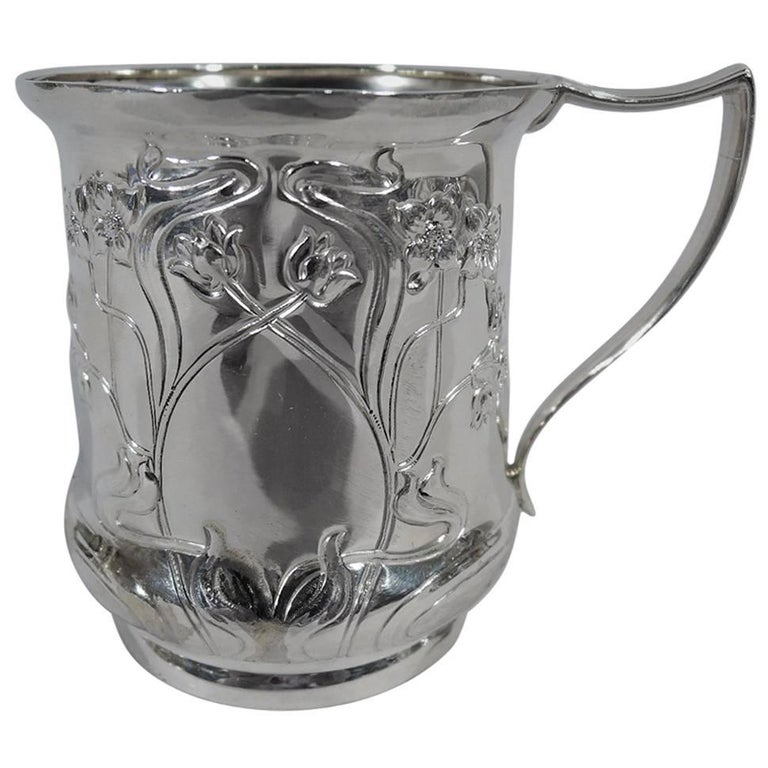 Antique English Art Nouveau Sterling Silver Baby Cup