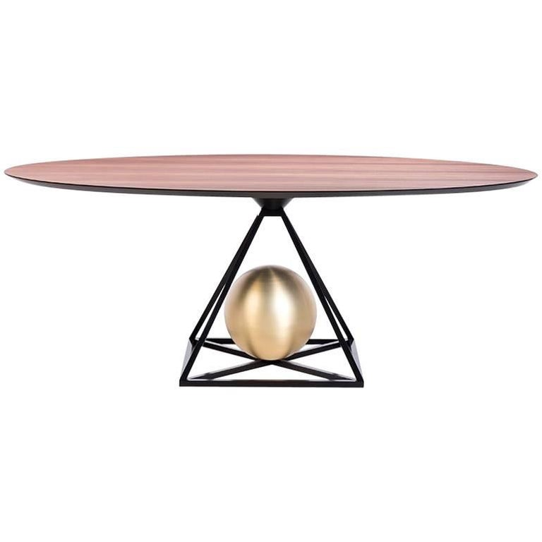 Contrepoids Dining Table in Wood and Brass by POOL