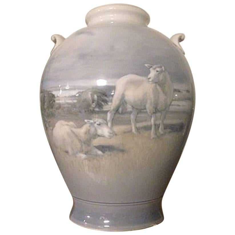 Royal Copenhagen Art Nouveau Unique Vase by Gotfred Rode from 1930 with Sheep