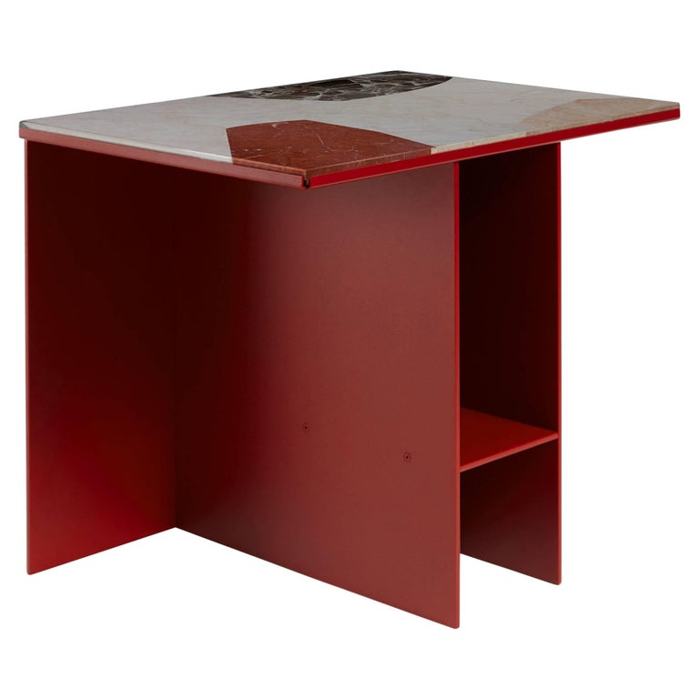 Contemporary Uniform Aluminium Side Table Deep Rust Red and Cut-Out Marble Inlay For Sale