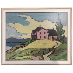 "Jean Guy Desrosiers Oil on Board Painting ""Sur Ma Butte"""
