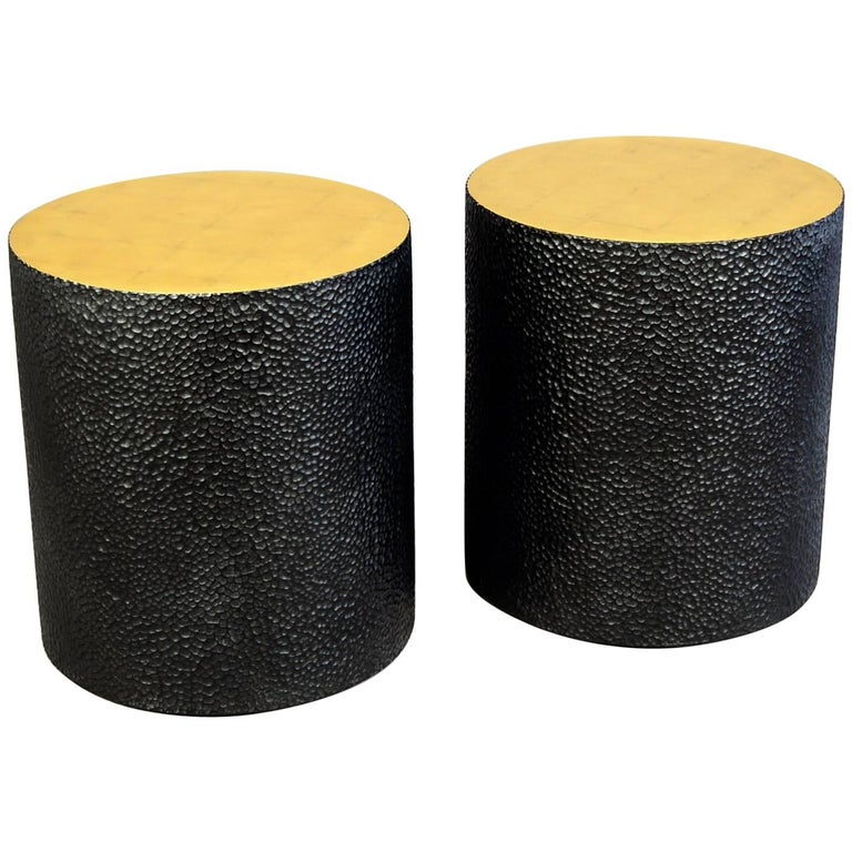 Gilded Drum Tables, Pair