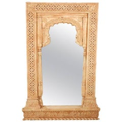 Anglo Indian Hand-Carved Wood Moorish Arched Mirror