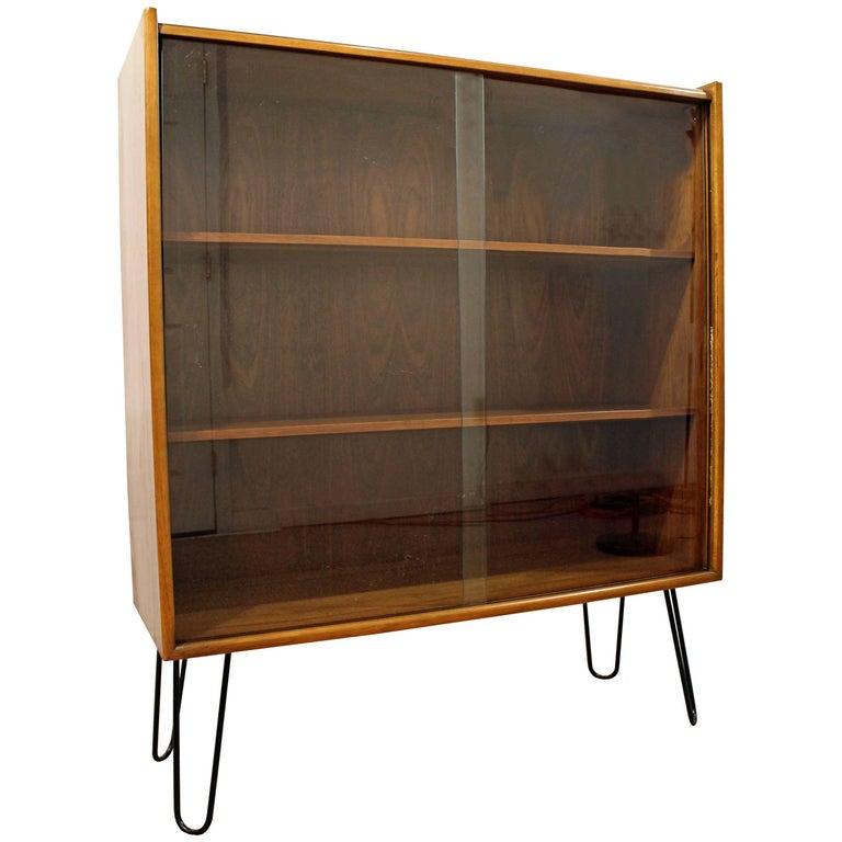 Mid-Century Modern Walnut Bookcase on Hairpin Legs
