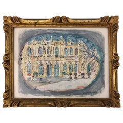 Framed Terechkovitch 'Constantin' Color Lithograph of Hotel De Lassay Paris 1967