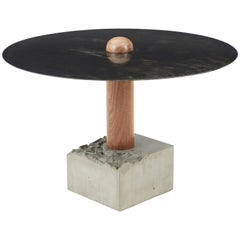 RT-1 Round Dining Table with Steel Top, Solid Walnut Wood Post and Concrete Base