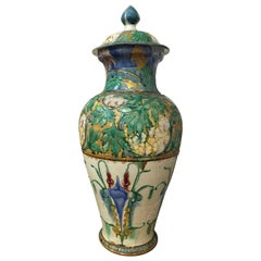 Late 19th Century Portuguese Palissy Ware Covered Vase in the Art Nouveau Style