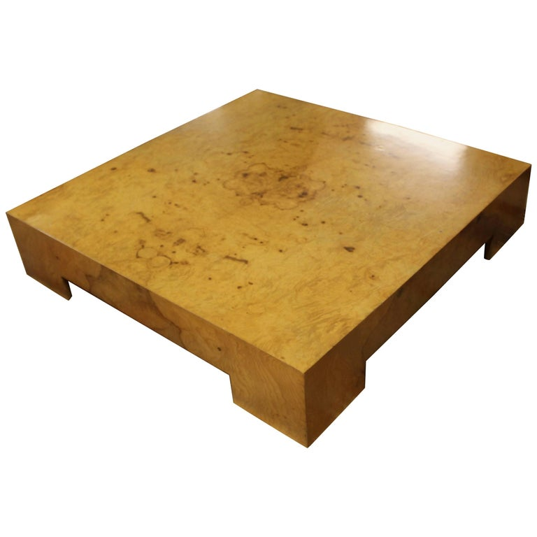 Mid-Century Modern Milo Baughman Parsons Burl Wood Square Low Coffee Table 1970s