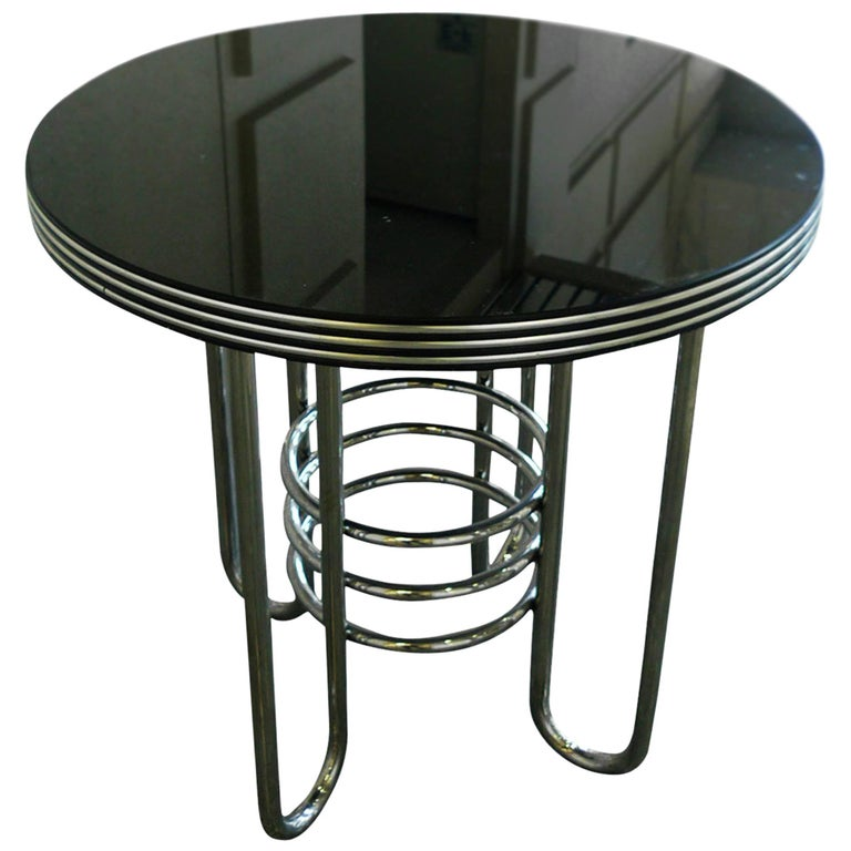 Art Deco Chrome and Black Glass Occasional Table in the Style of Gilbert Rohde