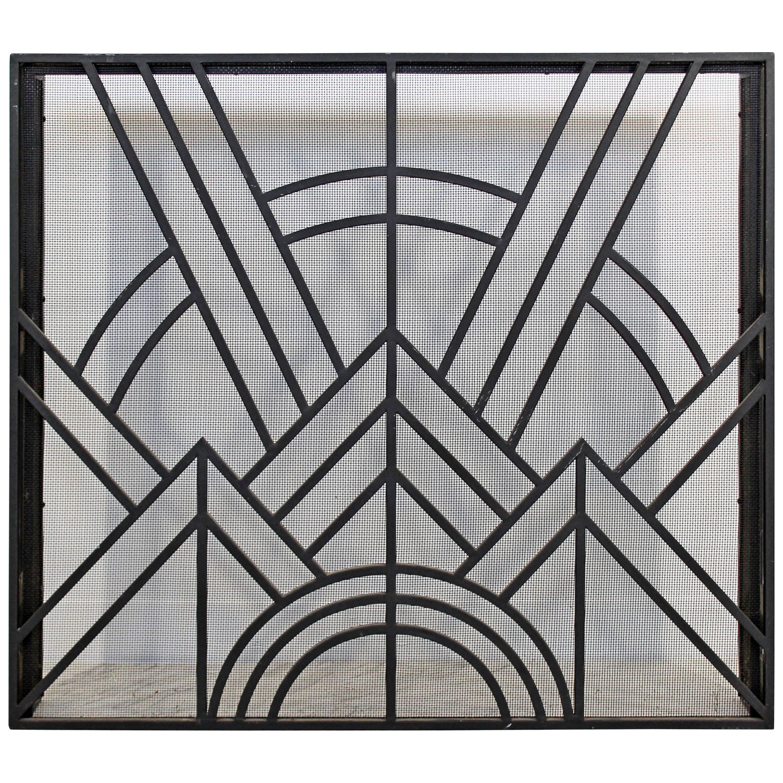 neo art deco wrought iron metal fireplace screen at 1stdibs rh 1stdibs com Fireplace Decor Fireplace Decor
