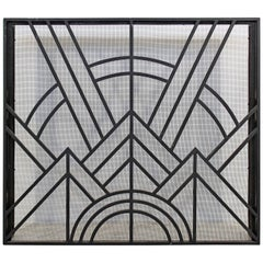 Neo Art Deco Wrought Iron Metal Fireplace Screen