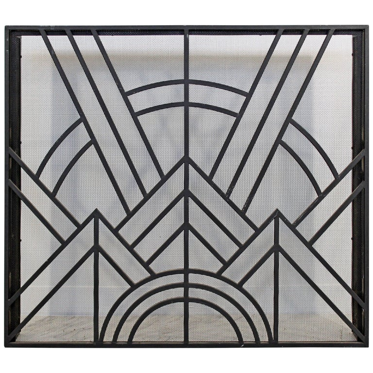 Neo Art Deco Wrought Iron Metal Fireplace Screen
