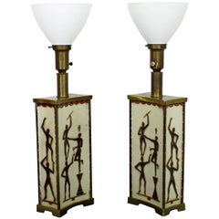 Art Deco Super Rare Maurice Heaton Pair of Four-Panel Tribal Table Lamps Glass