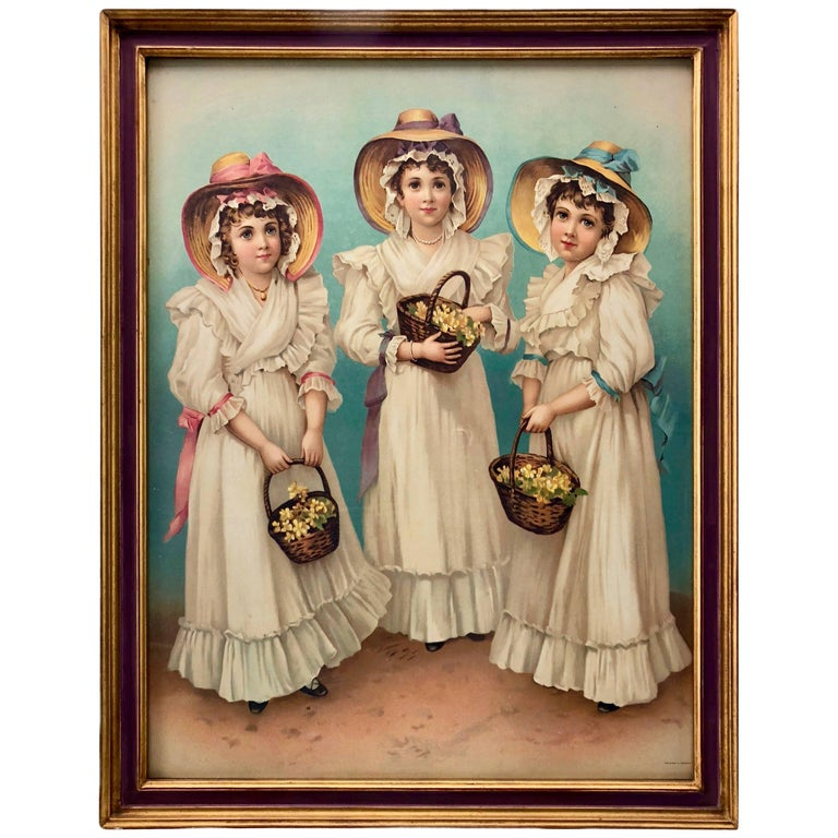 Framed Colored Engraving of Three Girls in Hats Holding Flower Baskets, Germany