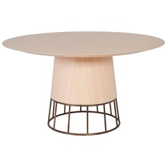Barril Brazilian Contemporary Wood and Metal Dining Table by Lattoog