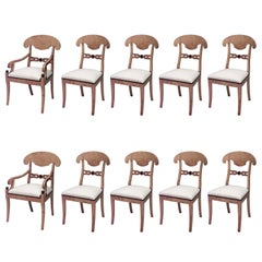 Set of Ten Swedish Biedermeier Birch Dining Chairs