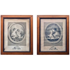 Two Framed French Etchings by Francois Boucher, for Savalette de Langes, 1700s
