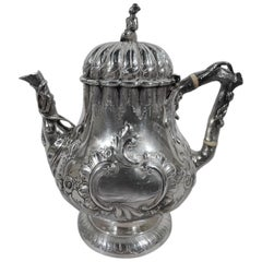 Philadelphia Coin Silver Teapot with Chinaman Finial by R & W Wilson