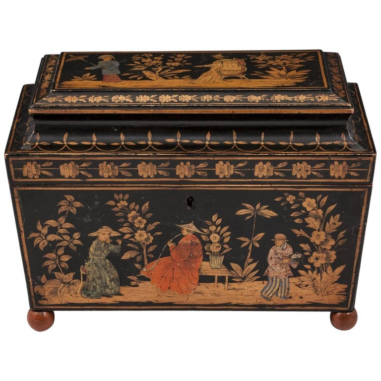 Superb Regency Painted Penwork and Chinoiserie Sarcophagus Shaped Tea Caddy