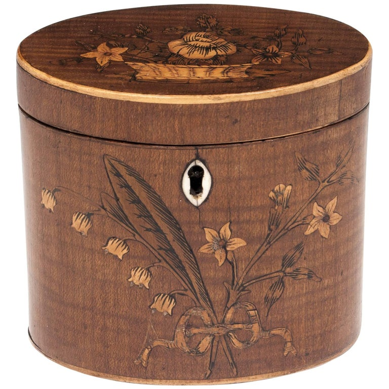George III 18th Century Period Miniature Harewood Oval-Shaped Tea Caddy