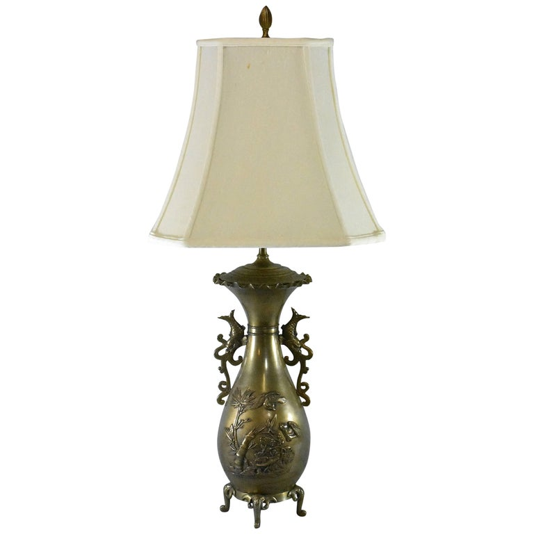 Brass asian style table lamp with birds dragons and bamboo detail brass asian style table lamp with birds dragons and bamboo detail for sale aloadofball Choice Image