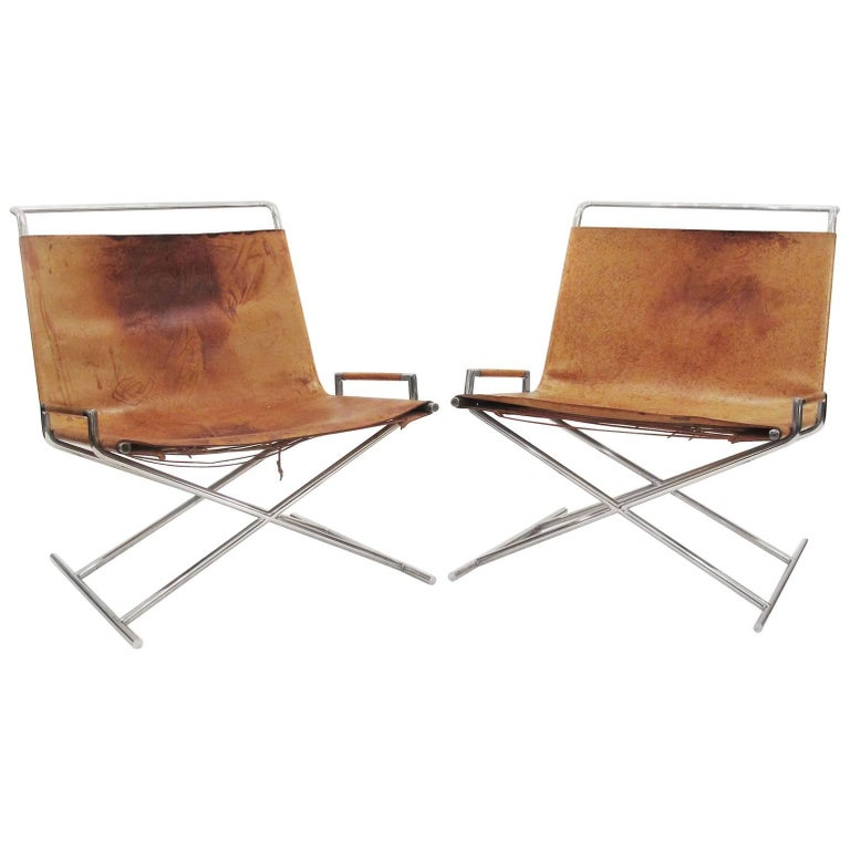 Ward Bennett Leather Sled Chairs