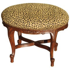 Small Louis XV Style Walnut Wood Stool from France