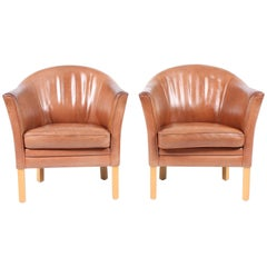 Pair of Danish Lounge Chairs in Patinated Leather