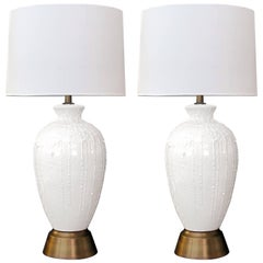 Boldly-Scaled American 1960s White Crater-Glazed Ovoid Form Ceramic Lamps, Pair