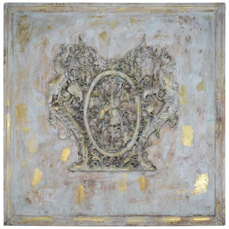 19th Century Spanish Painted and Parcel-Gilt Carved Panel