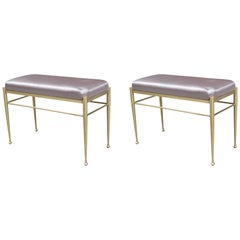 Pair of Small Modernist Brass Benches