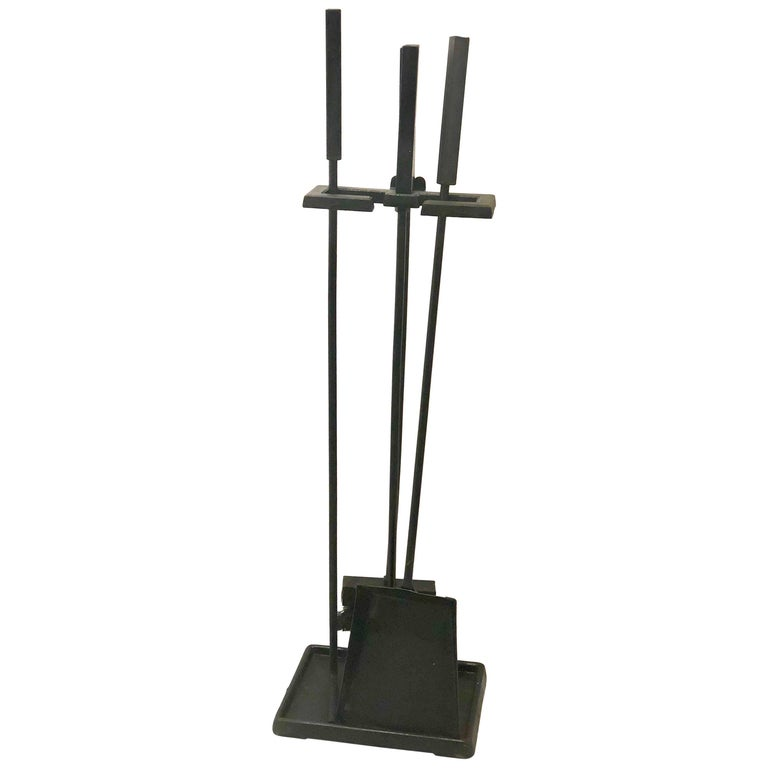 Modernist Set of Fireplace Tools in Patinated Black Iron For Sale