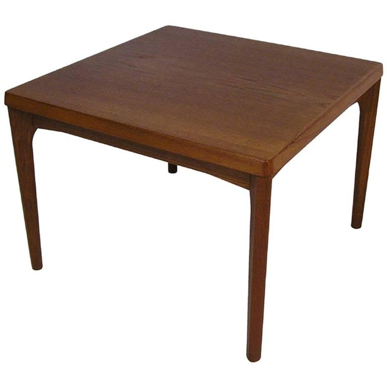 1960s Square Teak Side Coffee Table by Henning Kjaernulf, Denmark
