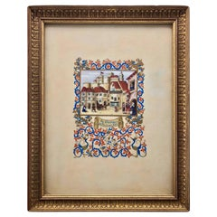 Framed French Aquarelle of the Chateau De Nice in the 13th Century