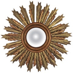 Spanish Carved Sunburst Mirror, circa 1930