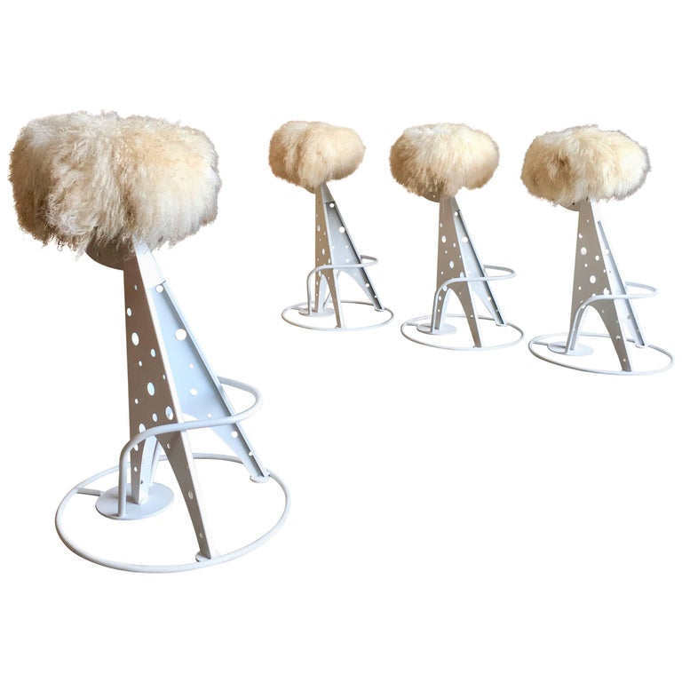 Set of Four Post Modern Bar Stools For Sale