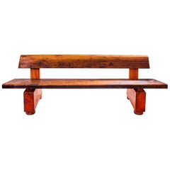 """Iabadu"" Bench in Imbuia Reclaimed Wood, rustic brazilian design"