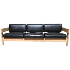 White Oak with Black Leather Sofa by Metropolitan