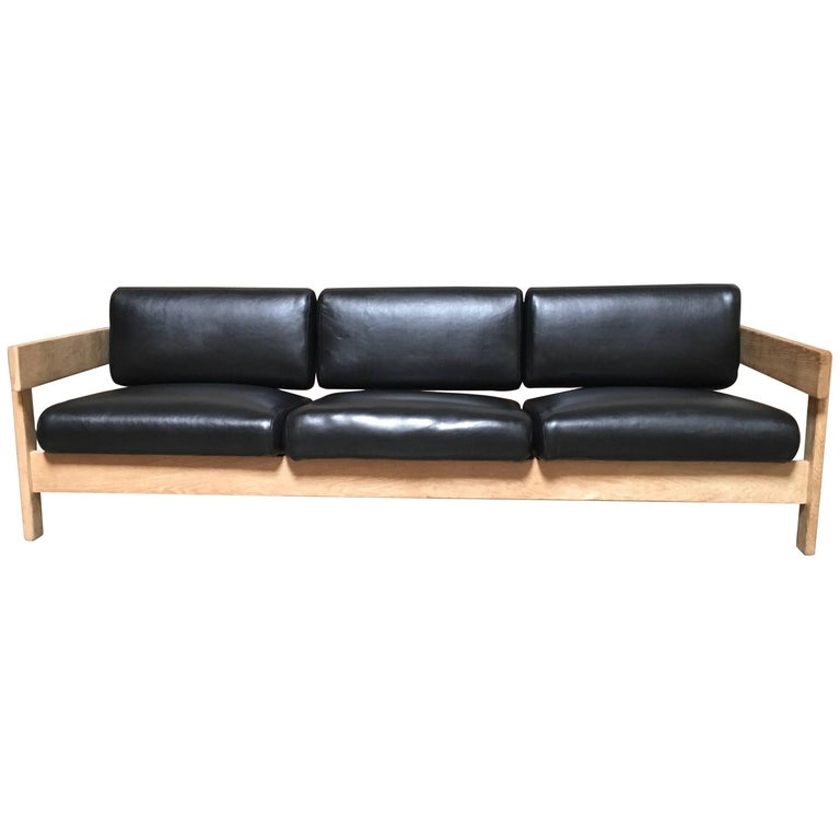 White Oak with Black Leather Sofa by Metropolitan
