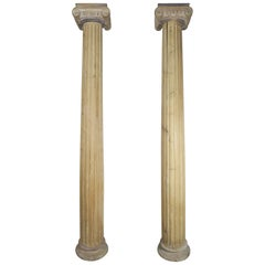 19th Century Italian Monumental Wood Columns, a Pair