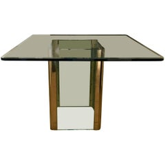 Vintage Leon Rosen for Pace Glass and Brass Square Dining Table