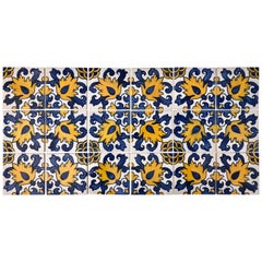 Vintage Blue and Yellow Hand-Painted Portuguese Ceramic Tiles, Set of 18