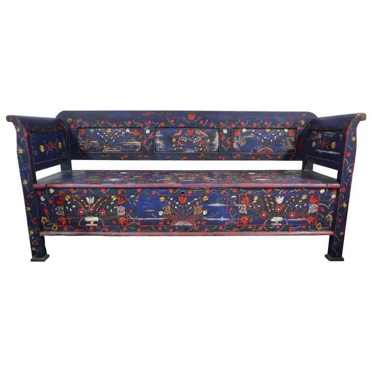 Late 19th Century Hand-Painted Scandinavian Storage Bench